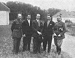Edward Karaś, Aleksander Cichocki, Jerzy Kossowski, Bolesław Orliński, Jan Malczewski (1927, Rakowice).jpg