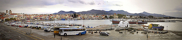 Panorama of the main harbour on Aegina.