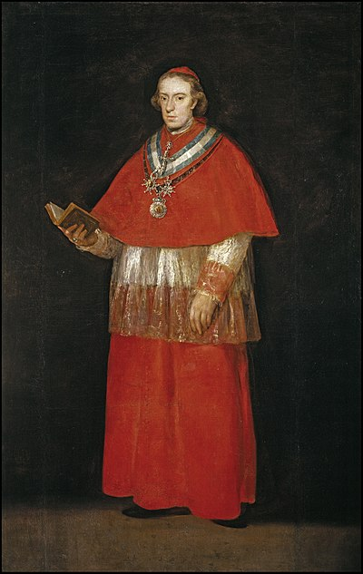 Luis Maria de Borbon y Vallabriga, 14th Count of Chinchon (1777-1823), Archbishop of Toledo and Primate of Spain, a liberal churchman who abolished the Spanish Inquisition in 1820. (It would be re-established in 1823.) El cardenal don Luis Maria de Borbon y Vallabriga (Museo del Prado).jpg