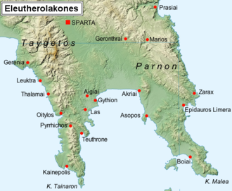 League of Free Laconians - The cities of the Free Laconians (Eleutherolakones) according to Pausanias