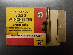 Kynoch - Eley-Kynoch consumer packaging for .30/30 center fire rifle cartridges (front)
