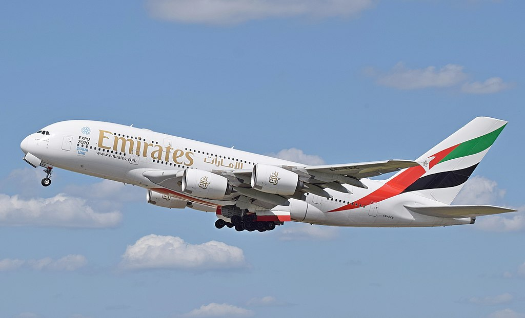 Emirates A380-800 (A6-EEC) departs London Heathrow 7June 2015 arp