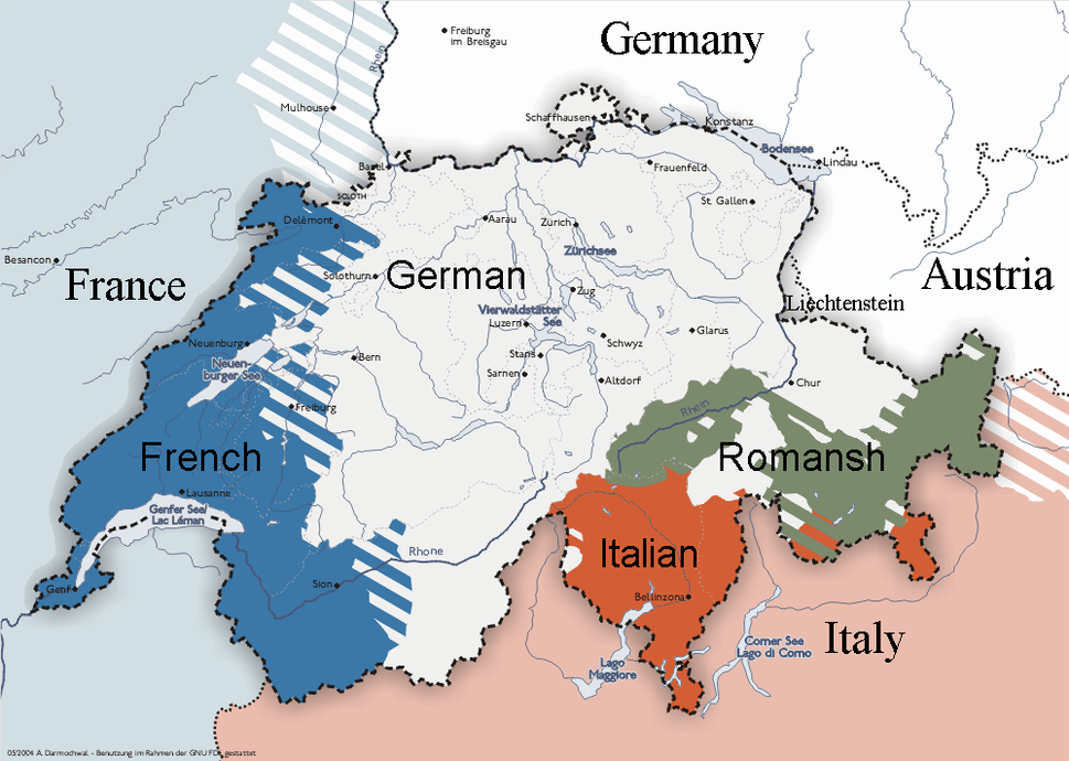 English-language version of Linguistic map of Switzerland