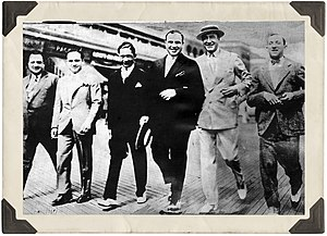 """Nucky Johnson's Organization - Enoch """"Nucky"""" Johnson (second from right) and Alphonse """"Scarface"""" Capone (third from right) on the boardwalk during the Atlantic City Conference"""
