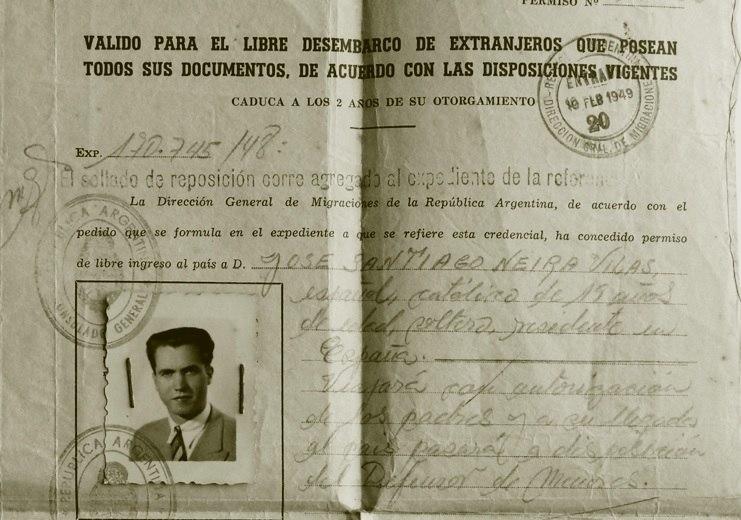 Entrada na Arxentina o 10-2-1949. José Santiago Neira Vilas ten vinte anos