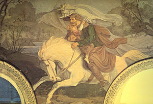 "Carl Gottlieb Peschel - Scene from Goethe's poem Der Erlkönig. (Fresco at the ""Belvedere"", c.1837)"