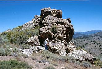 Aurora, Nevada - The Esmeralda vein, the discovery outcrop of the Aurora Mining District