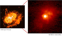 The Homunculus Nebula on the left, and a zoomed-in infrared image on the right