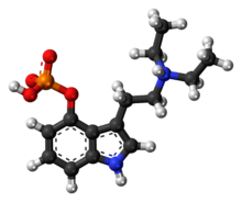 Ball-and-stick model of the ethocybin molecule as a zwitterion