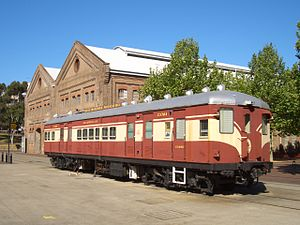 Rail rolling stock in New South Wales - Sputnik power car C3704 is now used as an office for 3801 Limited at Eveleigh