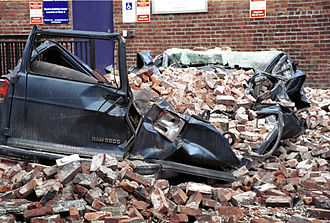 2001 Nisqually earthquake - A large van was crushed by bricks in a Seattle parking lot.