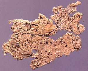 Early Chinese cartography - Fragment of the paper map from Fangmatan Tomb 5