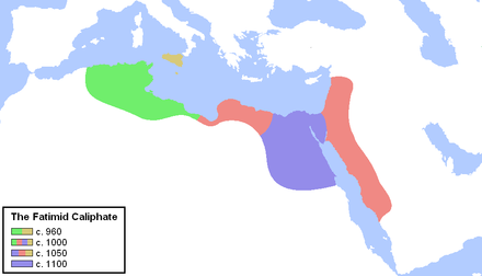 Fatimid Caliphate, a Shia Ismaili dynasty that ruled much of North Africa, c. 960-1100 Fatimid Caliphate.PNG