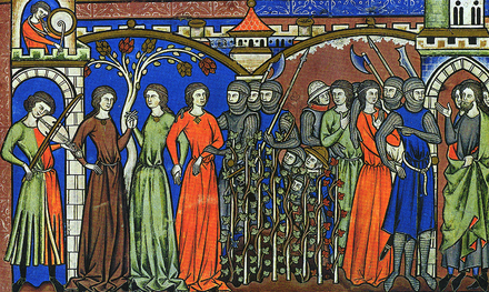 Illustration from the Morgan Bible of the Benjamites taking women of Shiloh as concubines. Fiddlerandtaborer.png