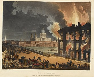 Albion Mills, Southwark - Albion Mills on fire