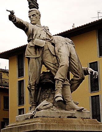 Monument of Piazza Mentana - Front view of statue.