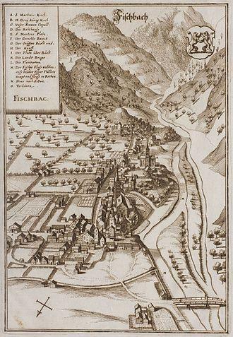 Visp - Engraving by Matthäus Merian, 1654.