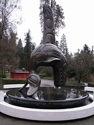 Vancouver Aquarium - Orca statue, Chief of the Undersea World, in front of the aquarium, designed by Bill Reid