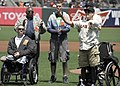 Flickr - Official U.S. Navy Imagery - Marine Cpl. Nick Kimmel, a triple amputee who served in Afghanistan, tosses the ceremonial first pitch before the San Francisco Giants and Arizona Diamondbacks baseball game at AT^T Ballpark..jpg