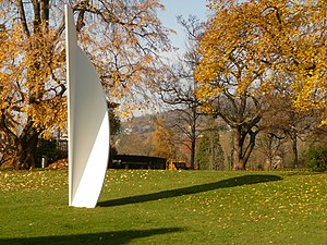 Ellsworth Kelly - White Curves (2002), made of white aluminium, in the garden of the Fondation Beyeler in Riehen, Switzerland