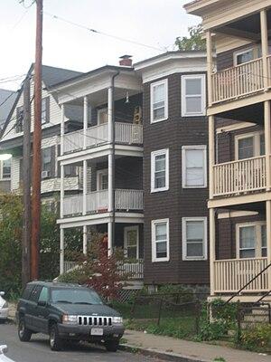 Forest Hills, Boston - Triple deckers on Tower Street near Forest Hills MBTA station