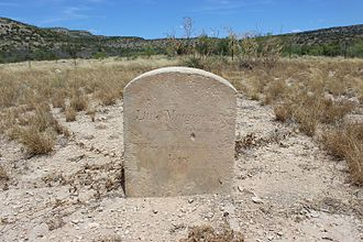 """Fort Lancaster - Grave of """"Little Margaret"""", died Oct. 13, 1858. Reads, """"Children are a heritage of the LORD."""""""