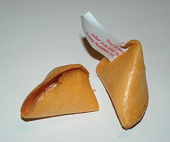 Photo of an open fortune cookie