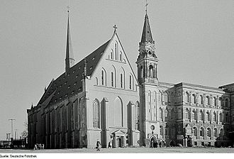 Paulinerkirche, Leipzig - The Paulinerkirche, view from the west, 1951