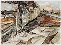 France- the Beach Head, 1944; the road between St Aubin and Benouville, the main supply route to the troops on the east side of the River Orne. It was under constant shell fire from the German batteries around Caen. Art.IWMARTLD4661.jpg