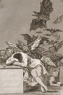 Francisco Goya, Il sonno della ragione genera mostri (1797 circa), penna e inchiostro su carta, 23×15,5 cm, museo del Prado, Madrid