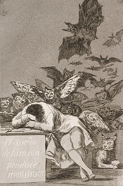 Francisco José de Goya y Lucientes - The sleep of reason produces monsters (No. 43), from Los Caprichos - Google Art Project.jpg