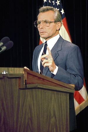 Frank Carlucci - Secretary Carlucci at a press conference, 1988
