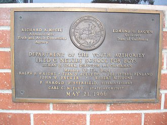 Fred C. Nelles Youth Correctional Facility - Image: Fred C. Nelles Plaque