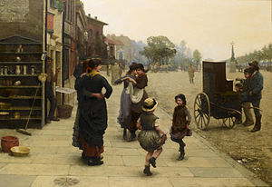 Chelsea Embankment - Frederick Brown: An impromptu dance - a scene on the Chelsea Embankment, 1883
