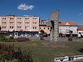 Freedom memorial and Ramszesz Hotel, 2017 Mátészalka.jpg