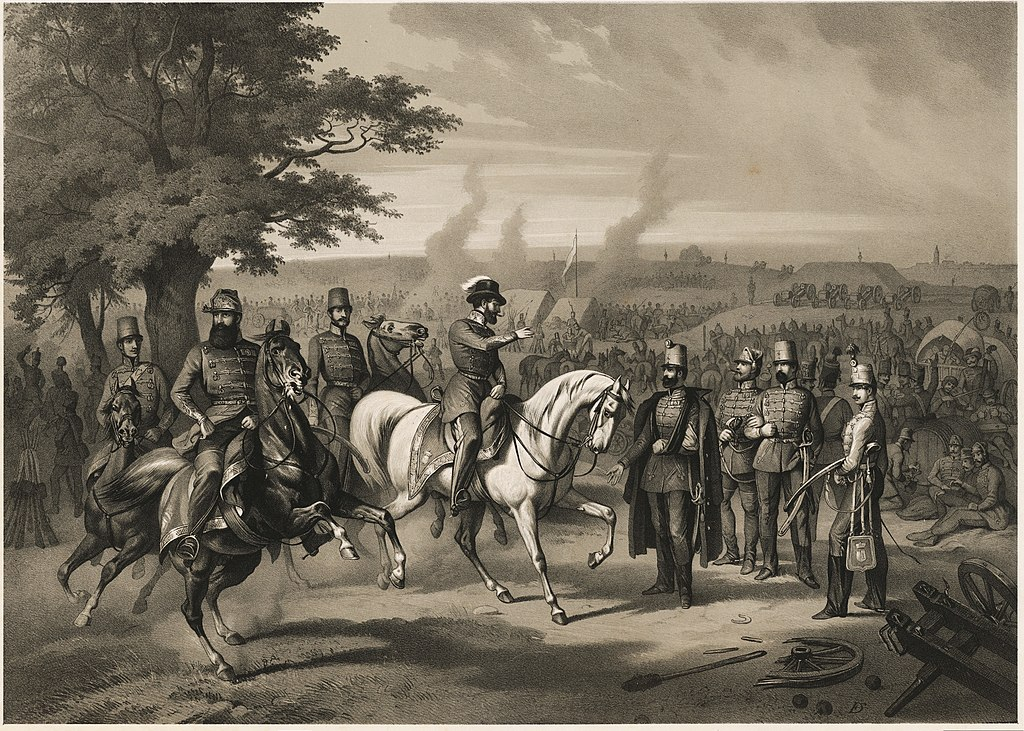 Friedrich Hohe, Szerelmey Miklósː Hungarian camp in April 1849 in front of Komárom. In the middle on a white horse is György Klapka, in the left side on a black horse is János Damjanich