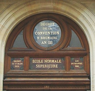 École normale supérieure - Key decrees and laws on the upper part of the entrance of École Normale Supérieure, 45 rue d'Ulm