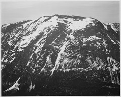 "Full view of barren mountain side with snow, ""In Rocky Mountain National Park,"" Colorado, 1933 - 1942 - NARA - 519968.tif"