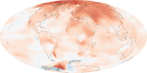 Map of temperature changes across the world