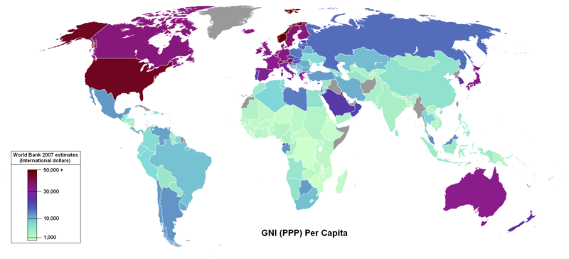 Global Map of GNI (PPP) per capita by nation