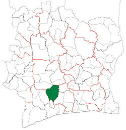 Location in Ivory Coast. Gagnoa Department has had these boundaries since 1980.