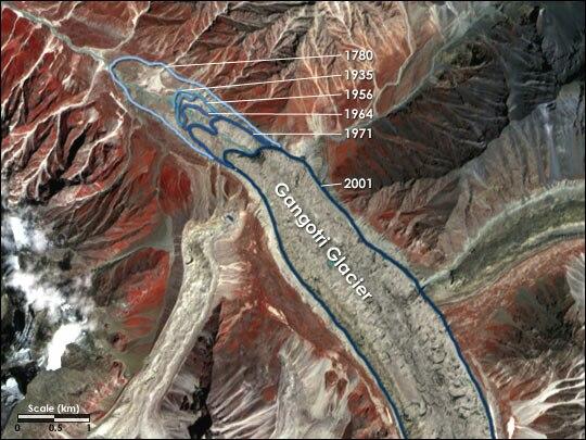 Gangotri Glacier, retreat from 1780 to 2001