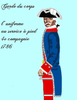 Garde du Corps (France) - The uniforme of Garde du Corps, 4th company, in 1786.