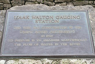 Stream gauge - Plaque marking the construction of the River Dove gauging station, decicated to Izaak Walton, author of The Compleat Angler.