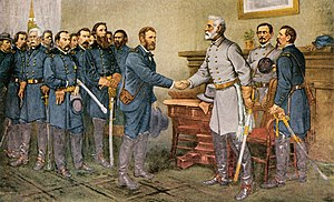 Battle of Appomattox Court House - A print showing Union Army General-in-Chief Ulysses S. Grant accepting Confederate General-in-Chief Robert E. Lee's surrender on April 9th, 1865