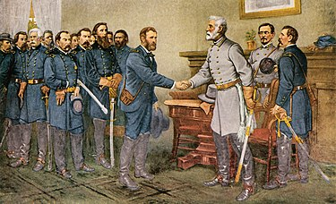 Surrender of General Lee to General Grant at Appomattox Court House General Robert E. Lee surrenders at Appomattox Court House 1865.jpg