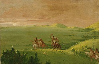 Comanche War Party, Chief Discovering the Enemy and Urging his Men at Sunrise