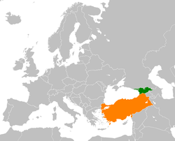 Map indicating locations of Georgia and Turkey