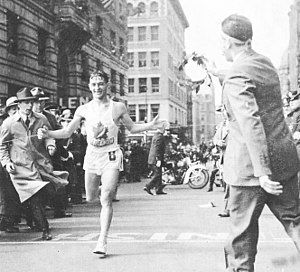 Timeline of Boston - Gerard Cote winning the Boston Marathon, April 19, 1940