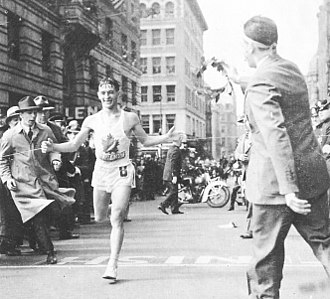 Timeline of Boston - Gerard Cote winning the Boston Marathon, April 19, 1940